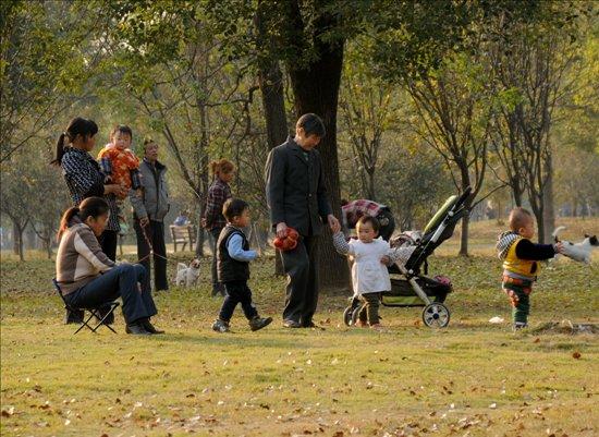 太阳 降雨/市民们在公园里享受难得的冬日暖阳。徐勇进摄